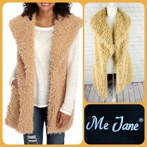 Me Jane Tan Faux Fur Vest